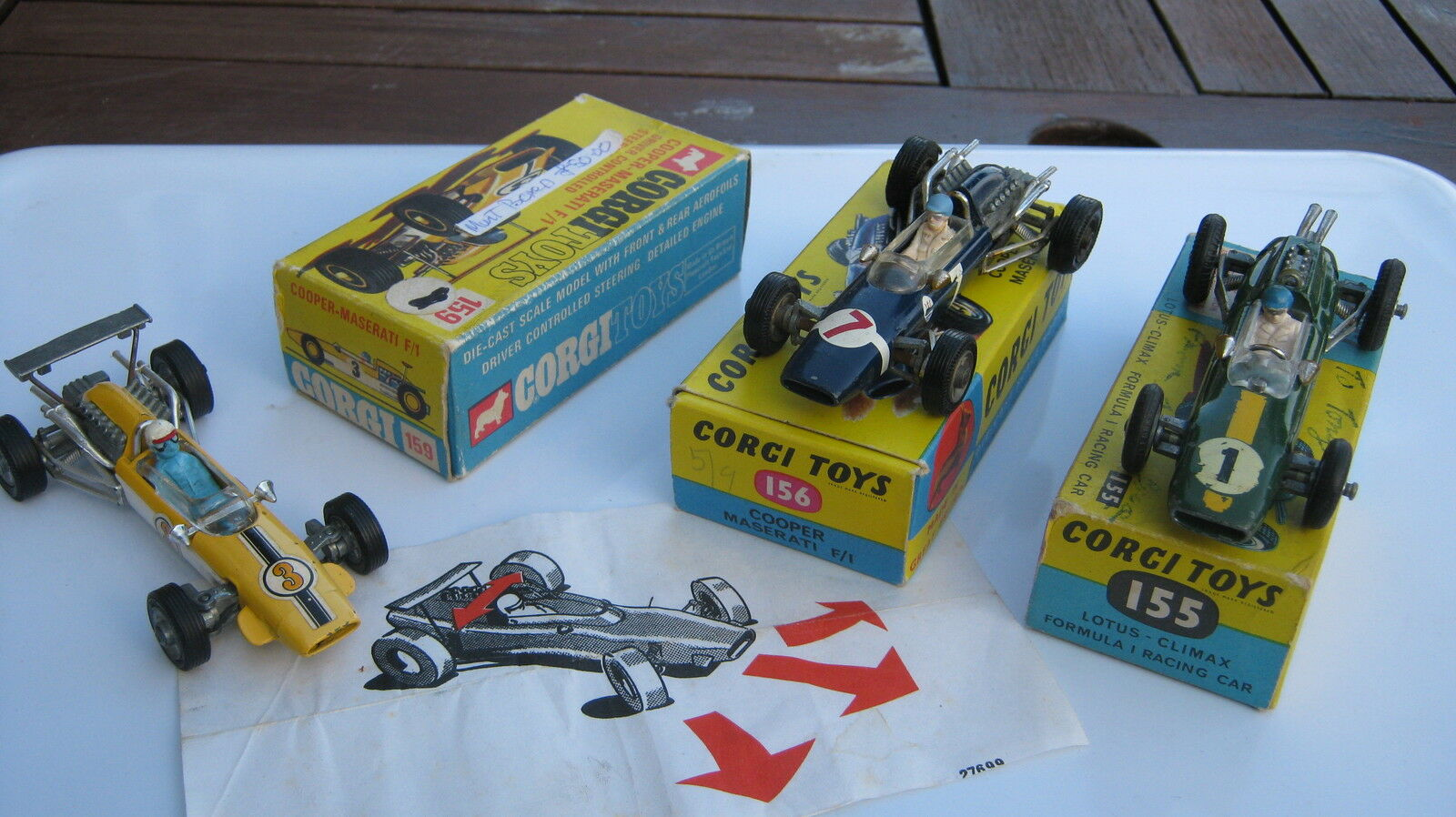 CORGI  155 156 159 ORIGINAL 1960s RACING CARS CARS CARS ALL GOOD IN GOOD ORIGINAL BOXES. b80139