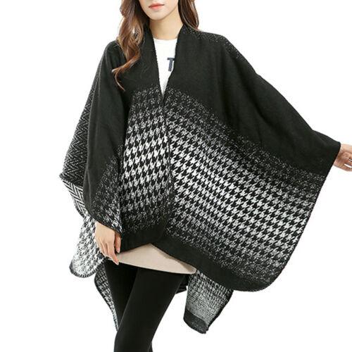 Womens Long Houndstooth Cape Wrap Winter Tartan Check Blanket Shawl Poncho Scarf