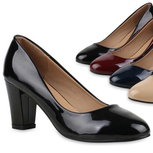 Hochzeit Damen Abiball Pumps Lack Schuhe Block Absatz Elegant 812175 Trendy
