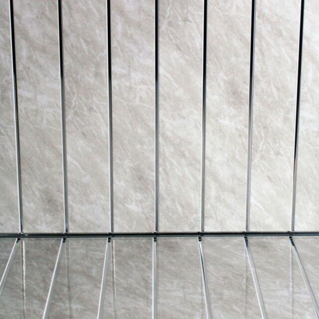 16 Grey Marble Chrome Strip Bathroom Ceiling Panels Wall PVC Cladding Shower