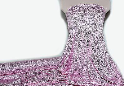 LYCRA SPANDEX BABY PINK   SEQUINS STRETCH BTY DANCE GYMNASTICS THEATER FORMAL