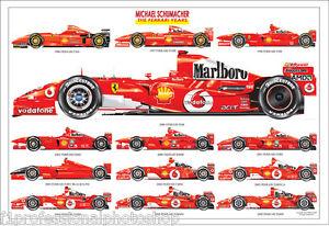 Michael Schumacher Ltd Ed Art Print All His Ferrari Cars Ebay
