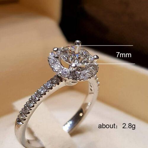 Elegant Argent 925 Bijoux Mariage Set Anneaux pour femmes Blanc Saphir Taille 5-12