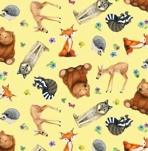 Elizabeth-039-s-Studio-Magic-Forest-Animals-Yellow-100-cotton-fabric-by-the-yard