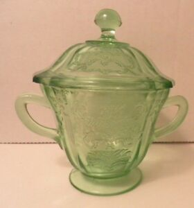 Art-Deco-Green-Madrid-Depression-Glass-Sugar-Bowl-amp-Lid-AS-IS-Federal-Glass