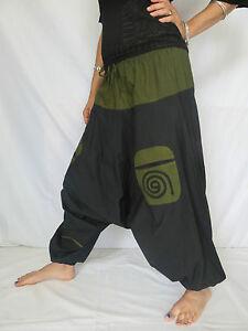 best deals on to buy online retailer Details about Sarouel Poche Spiral Noir Kaki - Hippie Ethnique Baba Cool  Style