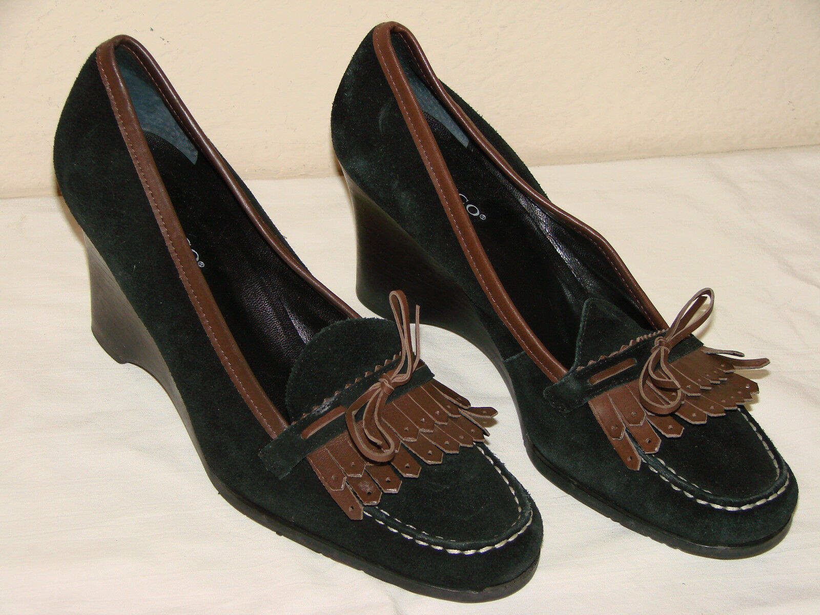Franco Sarto Womens Black Suede Suede Suede Tassel Loafer Wedge Shoe - Size 8.5M cc6a3a