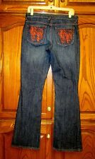 RARE BABY PHAT DESTROYED RHINESTONE ORANGE EMBROIDERED BOOTCUT JEAN SZ 9 X 33.5""