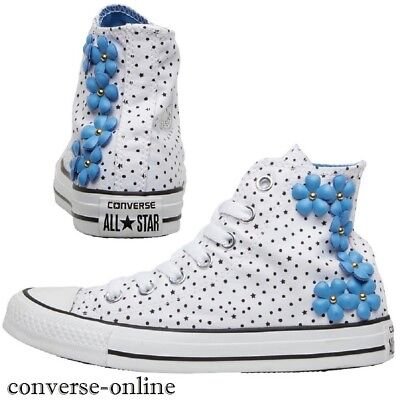 Converse All Star de mujer blanca flor azul High Top Zapatillas Botas Talla Uk 5.5 | eBay