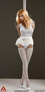 "1//6 Pole Dancer Dress Stockings Set WHITE For 12/"" Hot Toys Phicen SHIP FROM USA"