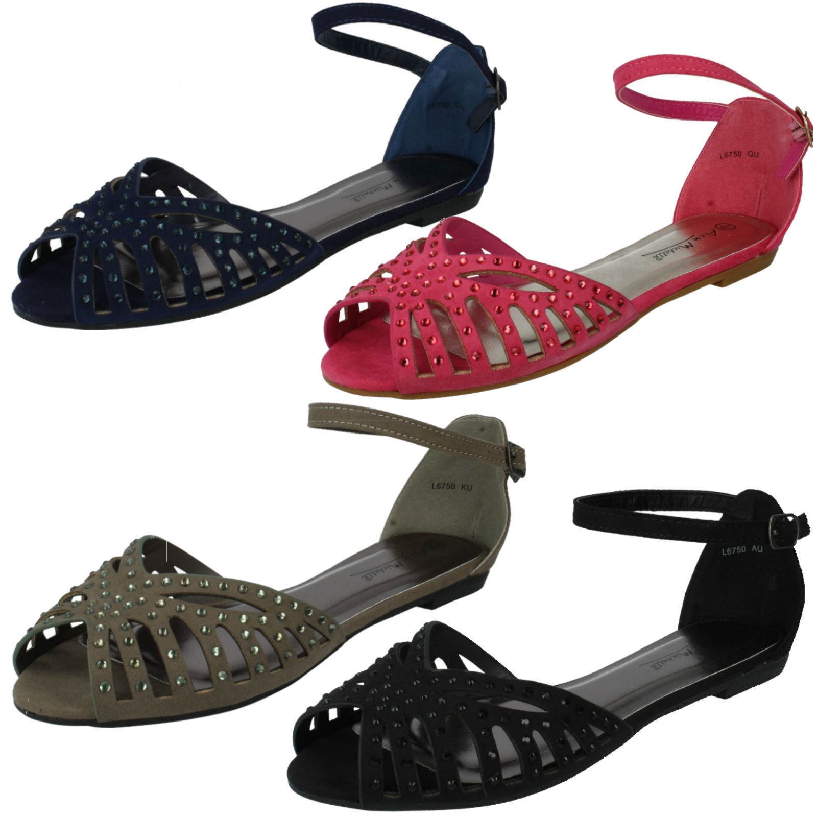 LADIES ANNE MICHELLE STRAP PEEP TOE FLAT ANKLE STRAP MICHELLE DIAMANTE SUMMER SANDALS L6750 e5b655