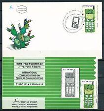 ISRAEL 2000 CELLULAR COMMUNICATION STAMP MNH + FDC + POSTAL SERVICE BULLETIN