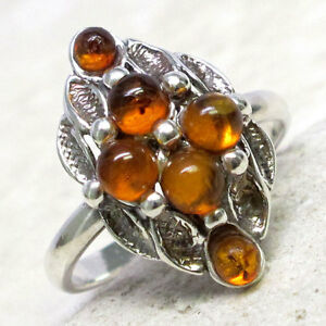 LOVELY-NATURAL-BALTIC-AMBER-925-STERLING-SILVER-RING-SIZE-5-10