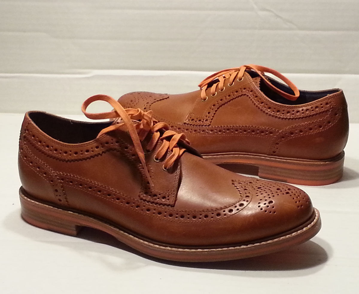 Cole Haan uomo size 7 Brown Leather Shoes C11076 Longwing Brogues Wing Tip Scarpe classiche da uomo