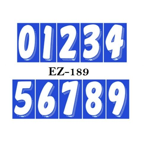 Car Dealer Window Stickers 7 1//2 Inch Numbers Blue and White 48 Packs