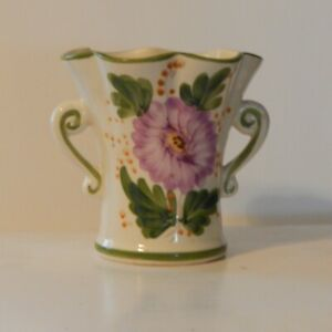 Vintage Hand Painted Shabby Chic FTD Floral Vase Portugal