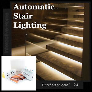 Details About Automatic Led Stair Lighting Smart Stairway 24 Kit For Stairs With Steps 12v