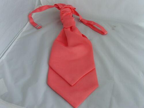/< NEW /> Coral-Salmon MENS Scrunchie Ruche Wedding Tie-Cravat and Hankie Set