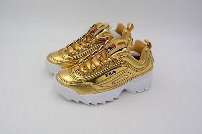 Fila Women's Disruptor II Sneaker Premium Metallic Gold Size US 7 EU 38 Used | eBay