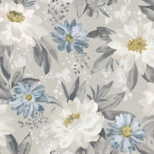 Arthouse Painted Dahlia Grey Blue Floral Wallpaper Flowers Country Garden