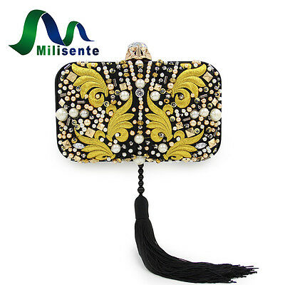 Milisente Brand Women Embroidered Beaded Clutch Purse Black Lady Party Handbags