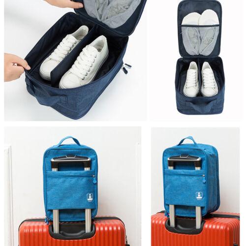 Schuhtasche Schuhbeutel mit Netztasche Schuhkoffer für 3 Paar Schuhe Reisen