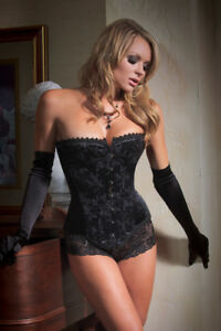 Women-Brocade-Boned-Overbust-Push-Up-Jacquard-Black-Corsets-Lace-Up-Bustiers