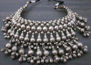 Brass-Beads-Choker-Bib-Necklace-Silver-Vintage-Boho-Goth-Gypsy-Tribal-Jewelry
