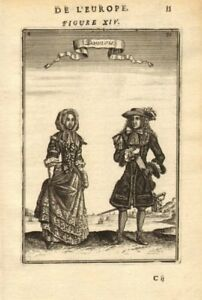 DENMARK COSTUME. Danish man & woman wearing 17C dress. 'Dannois'. MALLET 1683