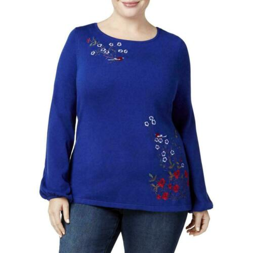 Charter Club Womens Blue Embroidered Pullover Sweater Top Plus 2X MSRP $89 C1618
