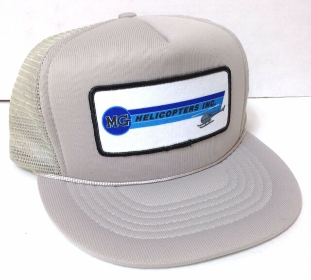 12de4ed0d9f NEW vtg 80 90s MG HELICOPTERS INC TRUCKER HAT Snapback Gray Blue Patch Men