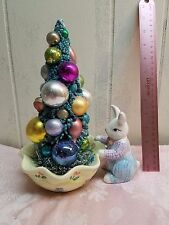 Shabby Cottage Chic Vintage Easter Bottle Brush Tree Decoration Ornaments Bunny