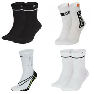 Details about Nike Mens Womens Crew Socks Squad Gym Sports 2 Pair Sock  White Size XL