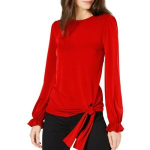 MICHAEL-KORS-NEW-Women-039-s-Statement-sleeve-Side-tie-Blouse-Shirt-Top-TEDO