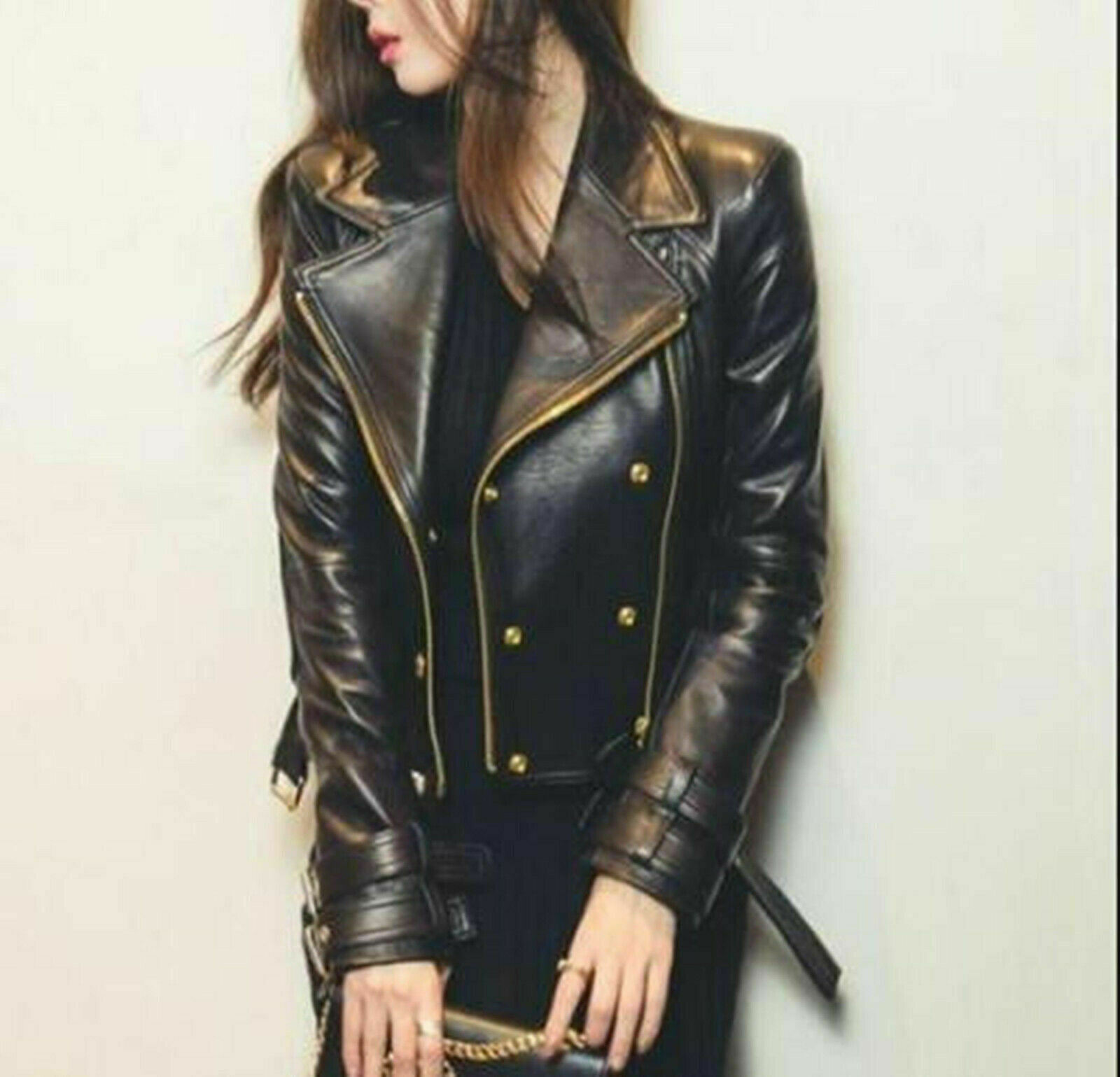 Women's Black Moto Racer Style Real Leather Motorcycle Slim fit Biker For Jacket