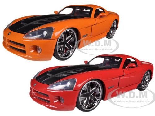 2008 DODGE VIPER SRT10 RED & orange SET OF 2 CARS 1 24 MODEL BY JADA 96805SET