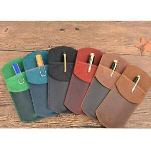 Portable Work Pouch Pocket Protector Genuine Leather Pencil Case Holder