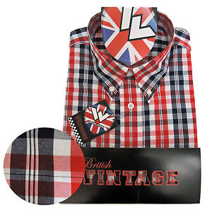 Warrior-UK-England-Button-Down-Shirt-FERDY-Slim-Fit-Skinhead-Mod-Retro