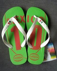 BRAND NEW MENS GREEN WHITE MEXICO TEAM HAVAIANAS FLIP FLOPS SIZE 6/7 (39/40)