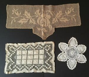 Antique-Lot-of-Three-Crochet-Lace-Unique-Items-from-19th-Century-Handmade-Doily