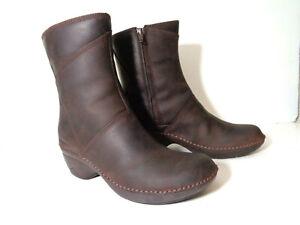 MERRELL Brunette Emma Mid Boots US 7M EUR 37.5 Oiled Leather Side Zipper