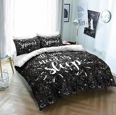 Sleep Slogan Reversible Duvet Quilt Cover Bedding Set With Pillowcases All Sizes Bedding