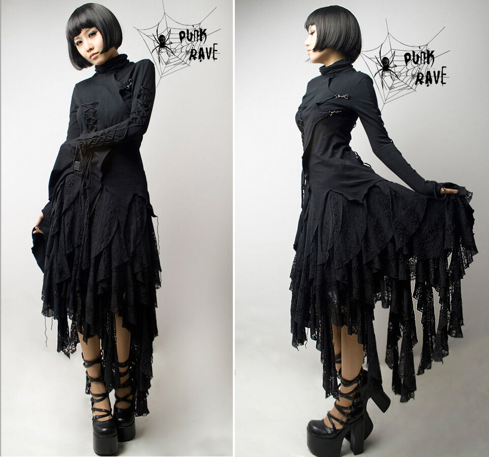 Jupe gothique punk lolita fashion asymétrique destroy dentelle broderie PunkRave