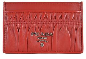 0c8bfdfc New Prada Women's 1MC208 Fuoco Red Ruched Leather Card Case ID ...