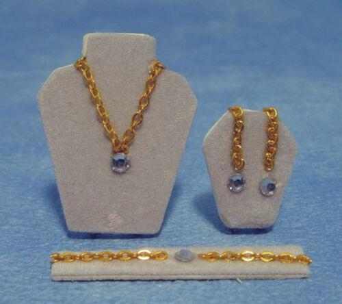 Escala 1:12 conjunto de imitação Diamond Jewellery tumdee Dolls House acessório 262