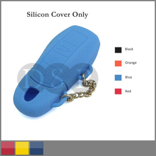 Leather Texture Silicone Cover fit for PORSCHE Cayenne Panamera Remote Key BL