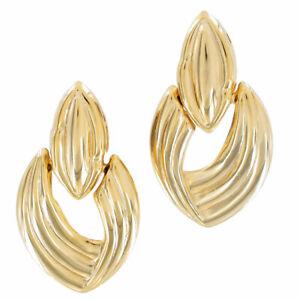 Vintage-1980S-Gold-Tone-Pierced-Earrings-Big-Elongated-Door-Knocker