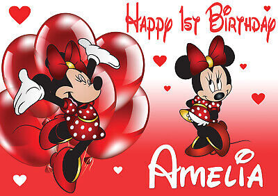 LARGE KIDS MINNIE MOUSE 1st  BIRTHDAY POSTER BANNER PERSONALISED ANY NAME TEXT