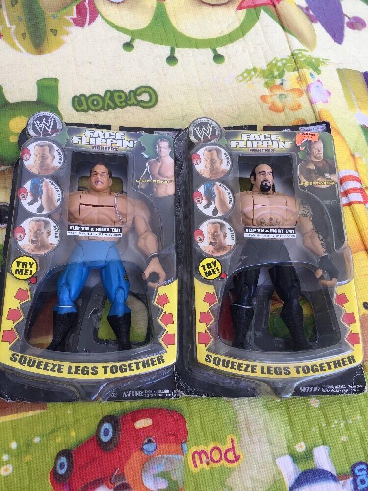 WWE UNDERTAKER FACE FLIPPIN ACTION FIGURE+Chris Benoit Sealed Lot