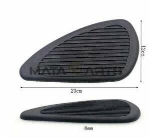 Hitommy Pair Motorcycle Cafe Racer Fuel Tank Cap Pad Protector Rubber Decal Sticker Universal Black